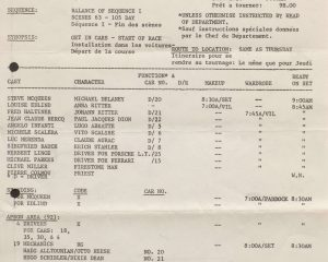 24 Hours of Le Mans call sheet.