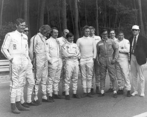Steve McQueen with the crew of Le Mans