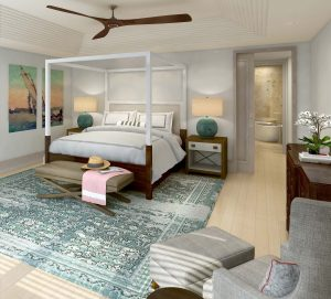 Master bedroom with walk-in closet and patio at The Cove, , Caroline Bay, Bermuda