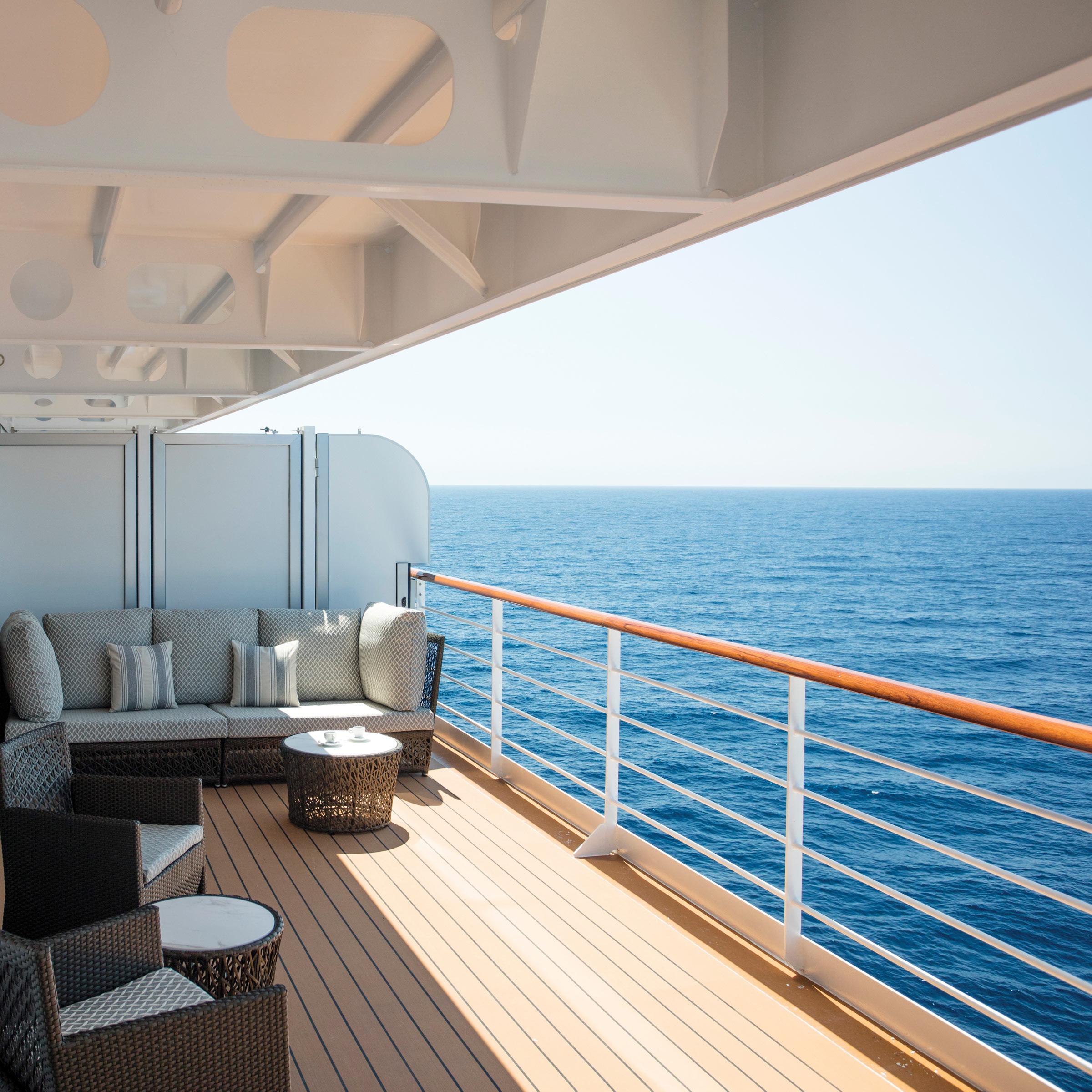 Balcony view from luxury cruise ship Explorer Regent
